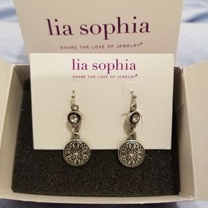 Lia Sophia silver earrings w cut crystals